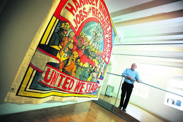 thisisoxfordshire: Ed Hall with a banner he made for the Haringey Miners' Support Group in 1984
