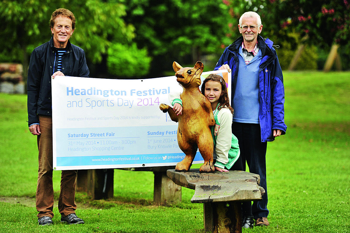 From left, Headington Action members Patrick Coulter, nine-year-old Lucy Webb and Keith Frayn in Bury Knowle Park where the event takes place this weekend                      Picture: OX67518 Mark Hemswor