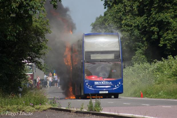 A photo of the bus fire from reader Tiago Lucas