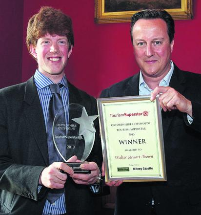 Last year's Tourism Superstar, Walter Stewart-Brown, with David Cameron