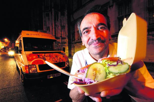 Street trader Saeid Keshmiri pictured in 2009 with his kebab van outside Christ Church
