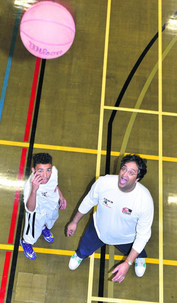 thisisoxfordshire: Theo Meade, 15, is trained by Dr Vish Anand at Oxford City Hoops basketball club