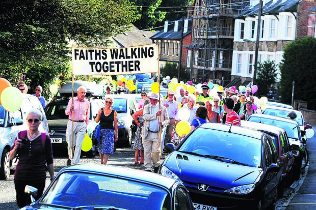 thisisoxfordshire: MARCH: The interfaith walk sets off from Richmond Road in Jericho