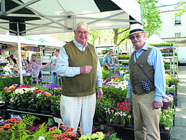 Councillor David Harvey, left, and Keith Davies at the market