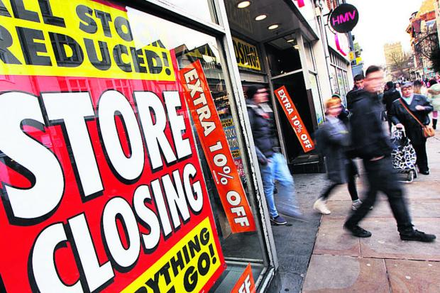 Shoppers at HMV after it began its closing down sale in January