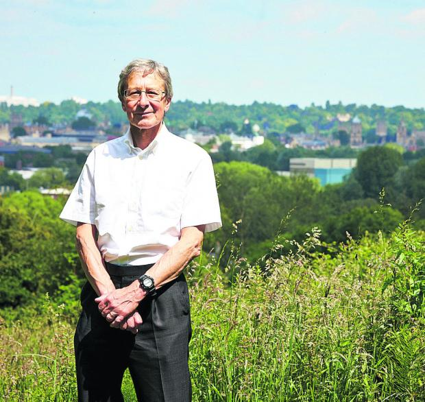 Bob Price, and the view of Oxford's dreaming spires from Raleigh Park, North Hinksey