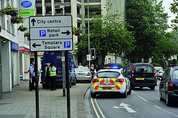 G4S security van and police outside Templars Square after the robbery