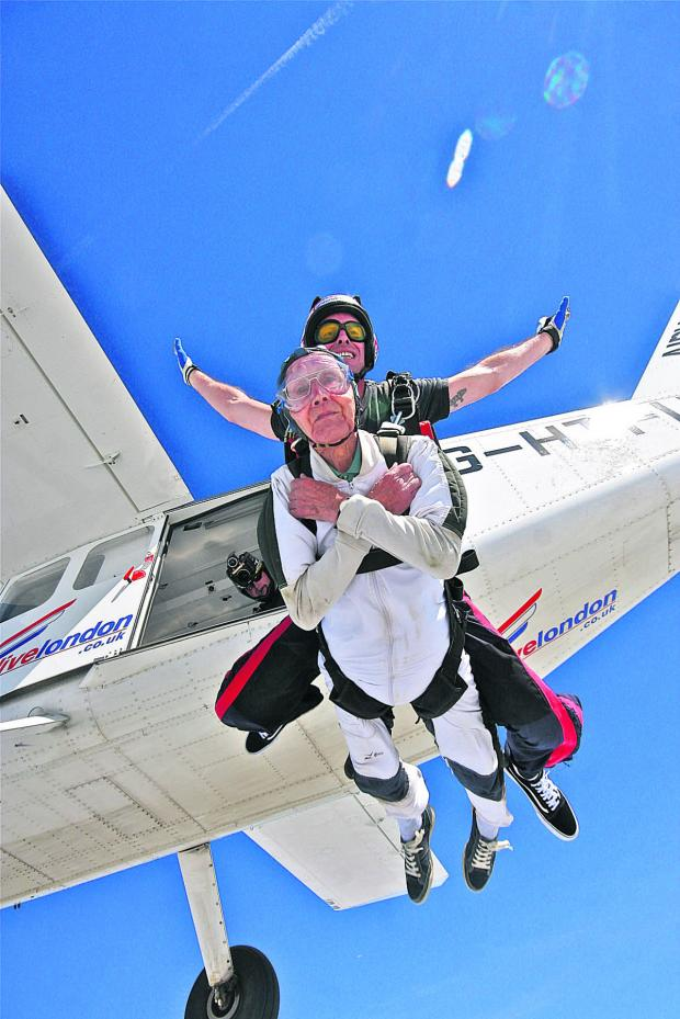 thisisoxfordshire: Derek Sherwood does his first parachute jump for his 90th birthday with tandem instructor Matt Attridge. Pictures: Lucy Smith-Wildey