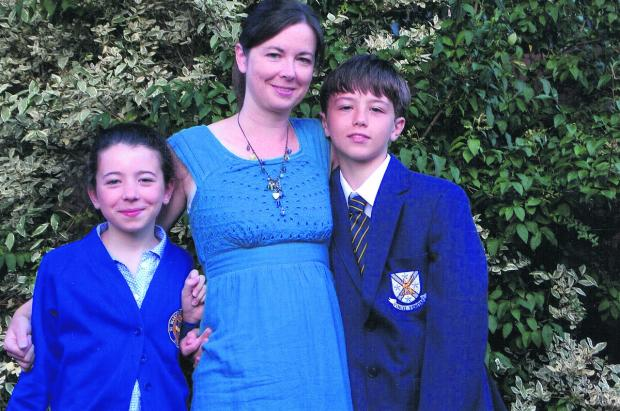 Angela Clare with her children Emily 10, and Daniel, 12