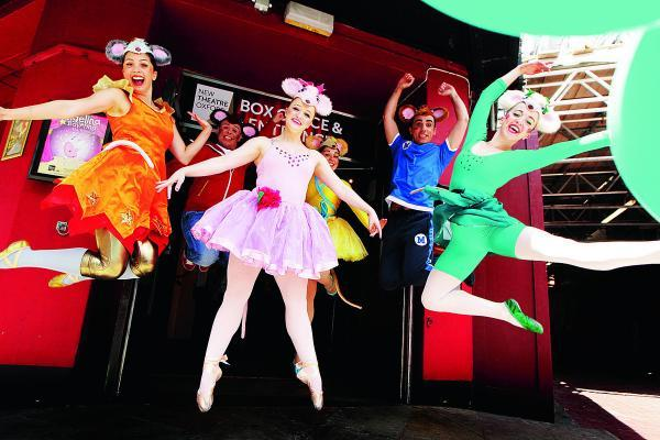 thisisoxfordshire: Joanna Gregory, centre, who plays the title role, and fellow cast members during rehearsals for Angelina Ballerina The Mousical at the New Theatre