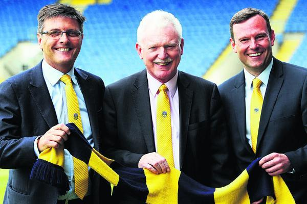 thisisoxfordshire: From left, Darryl Eales, Ian Lenagan and Mark Ashton at the Kassam Stadium yesterday          	 Picture: Ed Nix