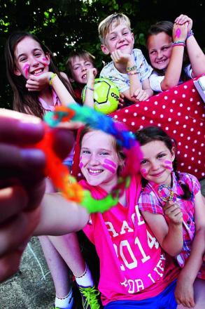 Friends have been selling loom bracelets to raise money for Race for Life. Holding the bracelet is Lexie Lydon, 11, with Ava Goldstein, six. Top row from left, Macy Roberts, 11, Jimmy Roberts eight, Rudy Goldstein, 10 and Corinna Scullion, eight