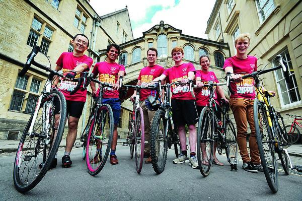 thisisoxfordshire: These students are part of a 70-strong group that will be setting off from Hertford College's Bridge of Sighs on Saturday to ride to its Venice counterpart. From left, Junnan Jiang, Nicholas Patni, Matt Brock, Alex Stronell, Anna Baskerville and Henry F
