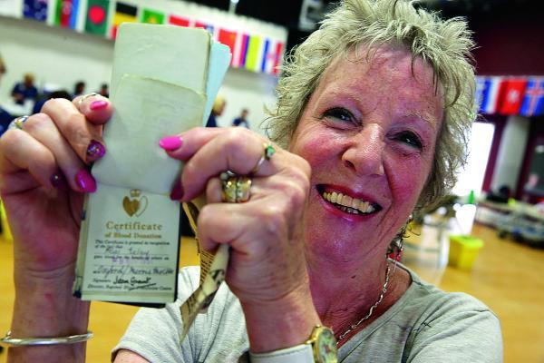 Sue Gristwood, 71, attends a donor session at Cheney School, Headington to donate her 100th pint