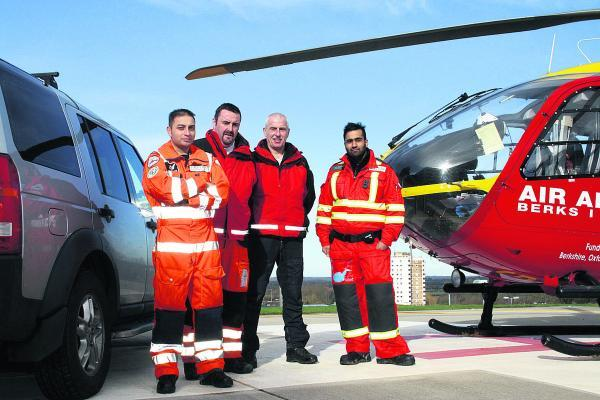 Members of the Helicopter Emergency Medical Service at the John Radclifffe Hospital. Left to right, clinical director for trauma Dr Syed Masud, paramedic Andy College, pilot Jes Charlton and Dr Wassin Shamsuddin