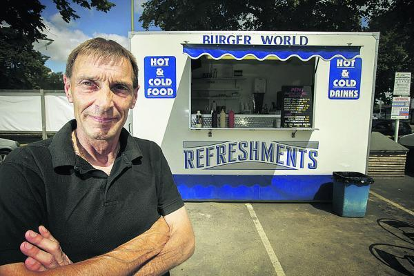 thisisoxfordshire: Les Bayliss, of Burger World, who trades outside the Wickes store in Botley Road