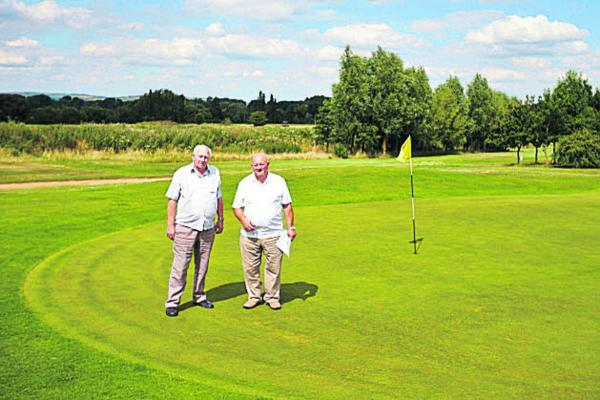 Ron, right, and Mick Wyatt on Waterstock golf course