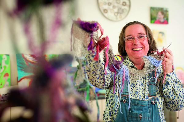 thisisoxfordshire: multimedia: Marianne Boyce, 42, uses sewing and knitting in her artwork at Crisis Skylight