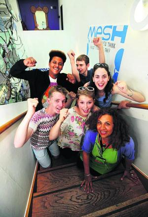 Back, from left, Mesh team members Mason Thomas-Downes, 15, Ryan Clune, 15, and Taair Anna Shatz, 17. Front, from left: Jordan Richardson, 16, Matilda Sloley, 17, and Yasmin Si