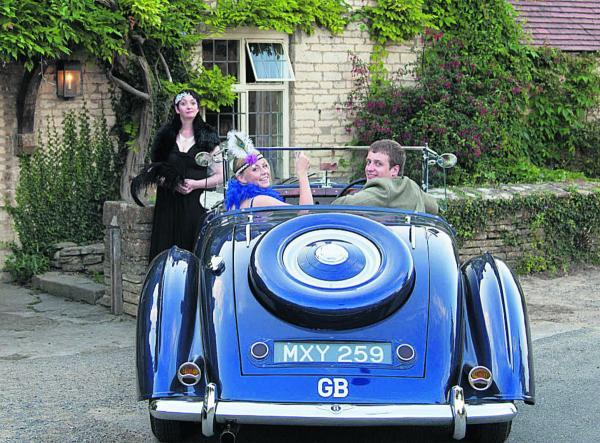 Among those looking forward to the rally are, back, Kate Clinkarrd, with, front, Lili Cooper and Ashley Clinkard, pictured at the Swan Inn, in Swinbrook, where Lady Sybil and Branson planned their elopement in Downton Abbey