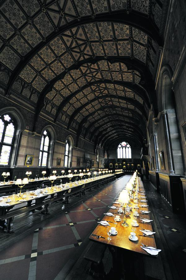 GRAND LODGINGS: Guests staying at Keble College over the summer can enjoy breakfast in the magnificent dining hall and a bed in the student lodgings