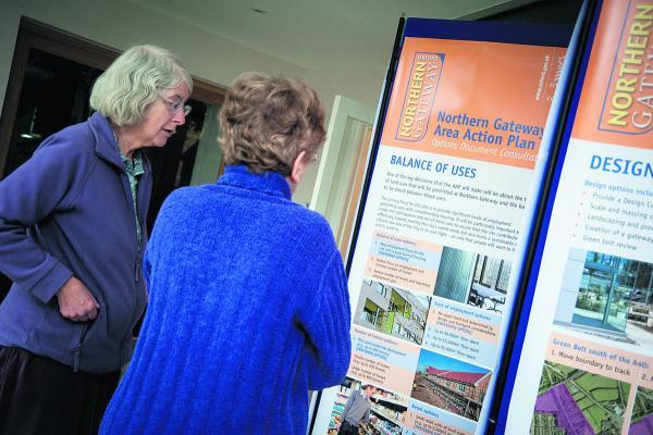 thisisoxfordshire: Wolvercote residents including Jenny Gerrard, left, and Sue Smith got a chance to look at the Northern Gateway plans in February