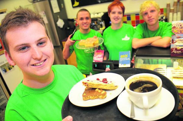 From left, Darren Doncaster, Ian Rigsby, Hannah Harrison and Anthony Langdon have started apprenticeships at the Yellow Submarine cafe