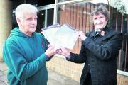 Mike Clarke, left, and Cllr Mick Haines pictured outside Speedwell House before handing in their petition			           Picture: OX70897 Cliff Hide