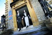 Paolo and Pip Torelli emerge from Oxford's Register Office after their wedding