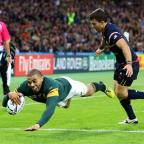 thisisoxfordshire: South Africa's Bryan Habana dives in to bring up his hat-trick