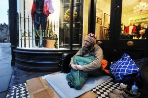 Homeless people sleeping rough in the city's doorways as the winter weather started to bite in November last year. Pictured is Paul Hanley, who has been supported by Emmaus Oxford. Picture by Jon Lewis
