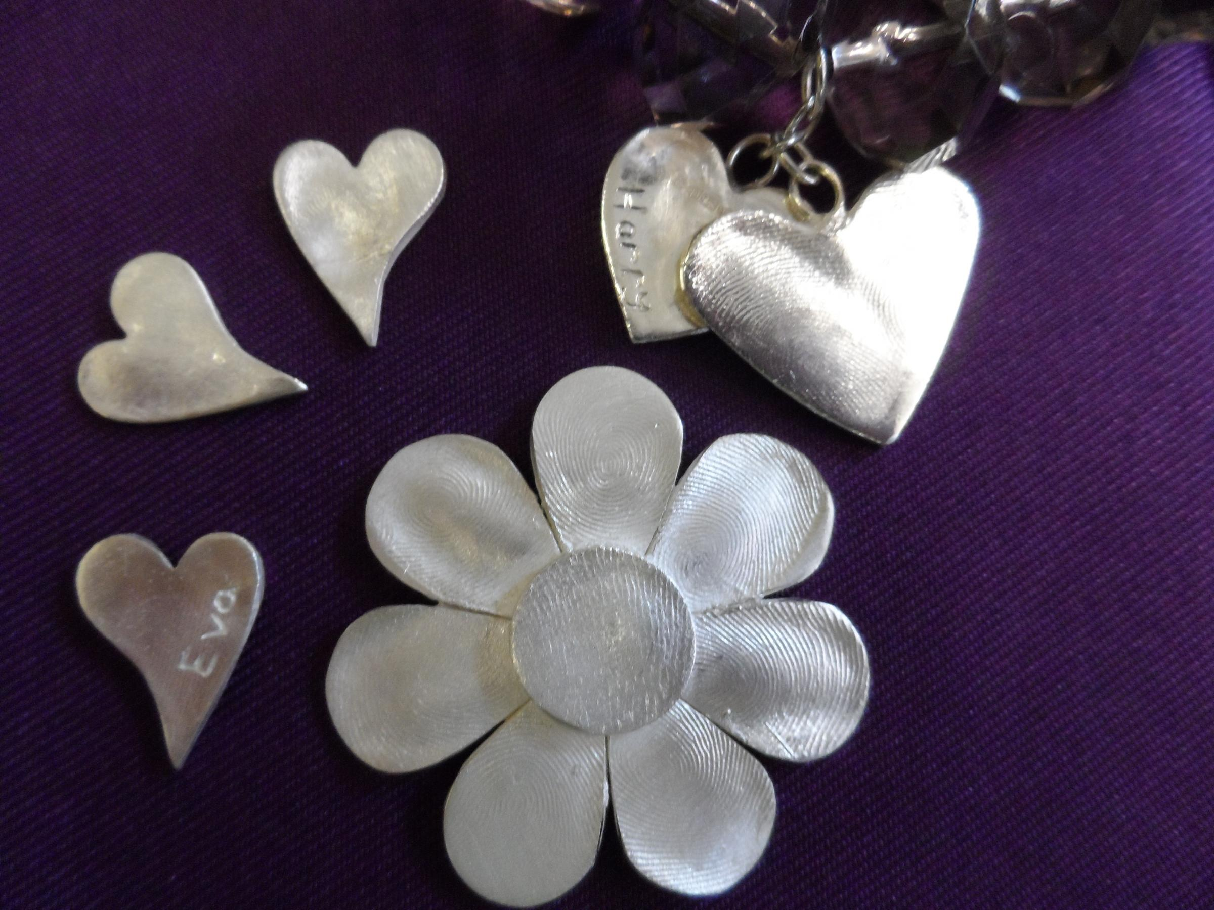 Silver fingerprint jewellery