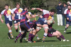 NO WAY THROUGH: Captain Allan Purchase is stopped in his tracks during Oxford Harlequins' defeat at home to Maidenhead in South West 1 East Picture: Steve Wheeler