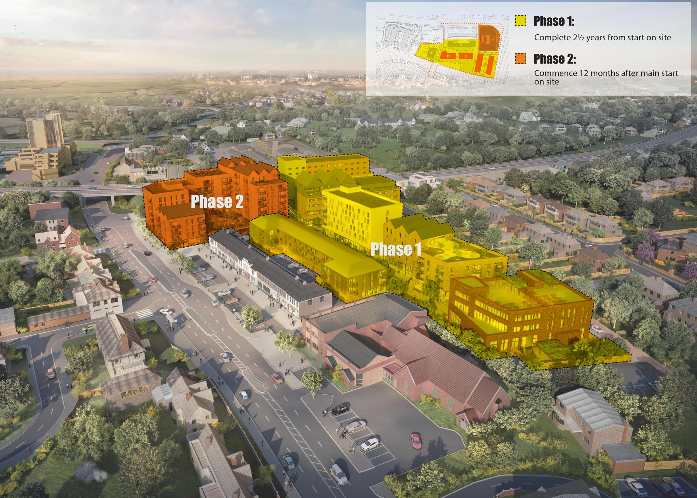 The new phasing proposals for the West Way Shopping Centre re-development. Picture: MACE..