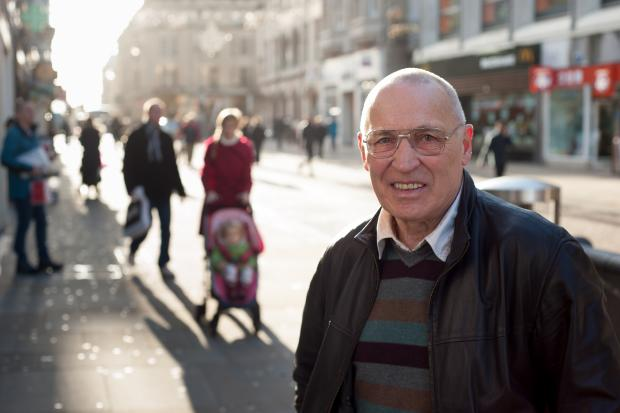 thisisoxfordshire: Retail expert Keith Slater in Cornmarket Street in Oxford. Picture Andrew Walmsley