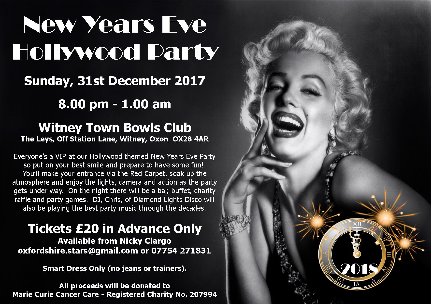 Hollywood Themed New Years Eve Party in aid of Marie Curie Cancer Care