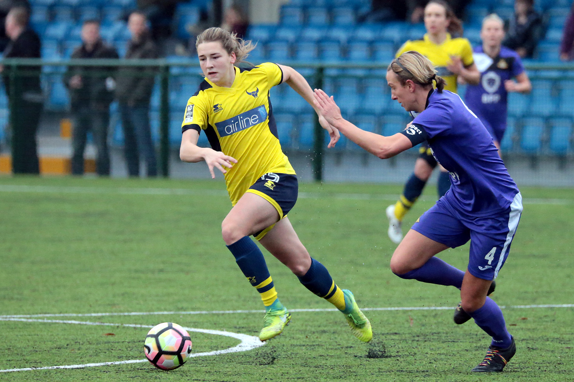 Chloe Chivers takes on Doncaster Belles last month. Oxford United return to action when they host Durham tomorrow