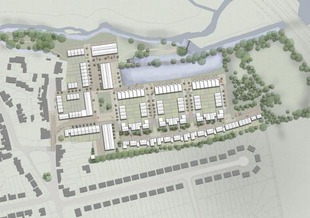 thisisoxfordshire: CGI of the 190 homes proposed at the Wolvercote Paper Mill, Picture: Cala Homes