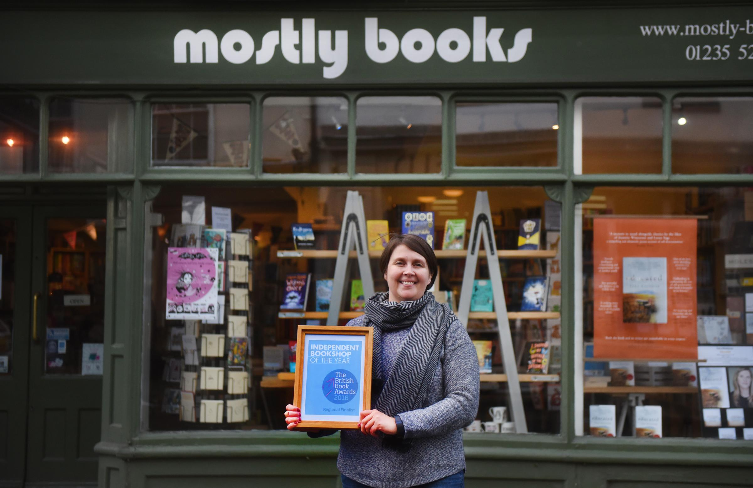 Owner Sarah Dennis at Mostly Books, Abingdon..Mostly Books has been shortlisted for best independent book shop in the south east.... Picture Richard Cave  27.02.18.