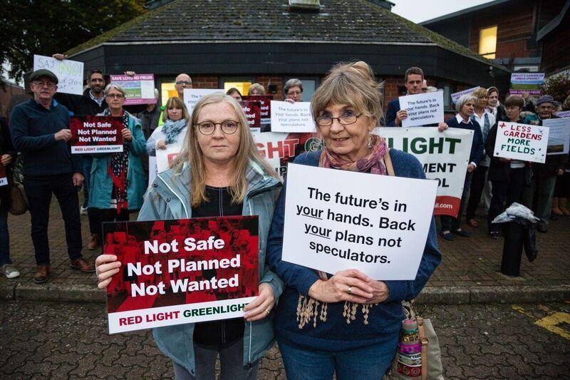 Protestors outside Didcot Civic Hall before Catesby's application was refused. Picture: Andy Barmer