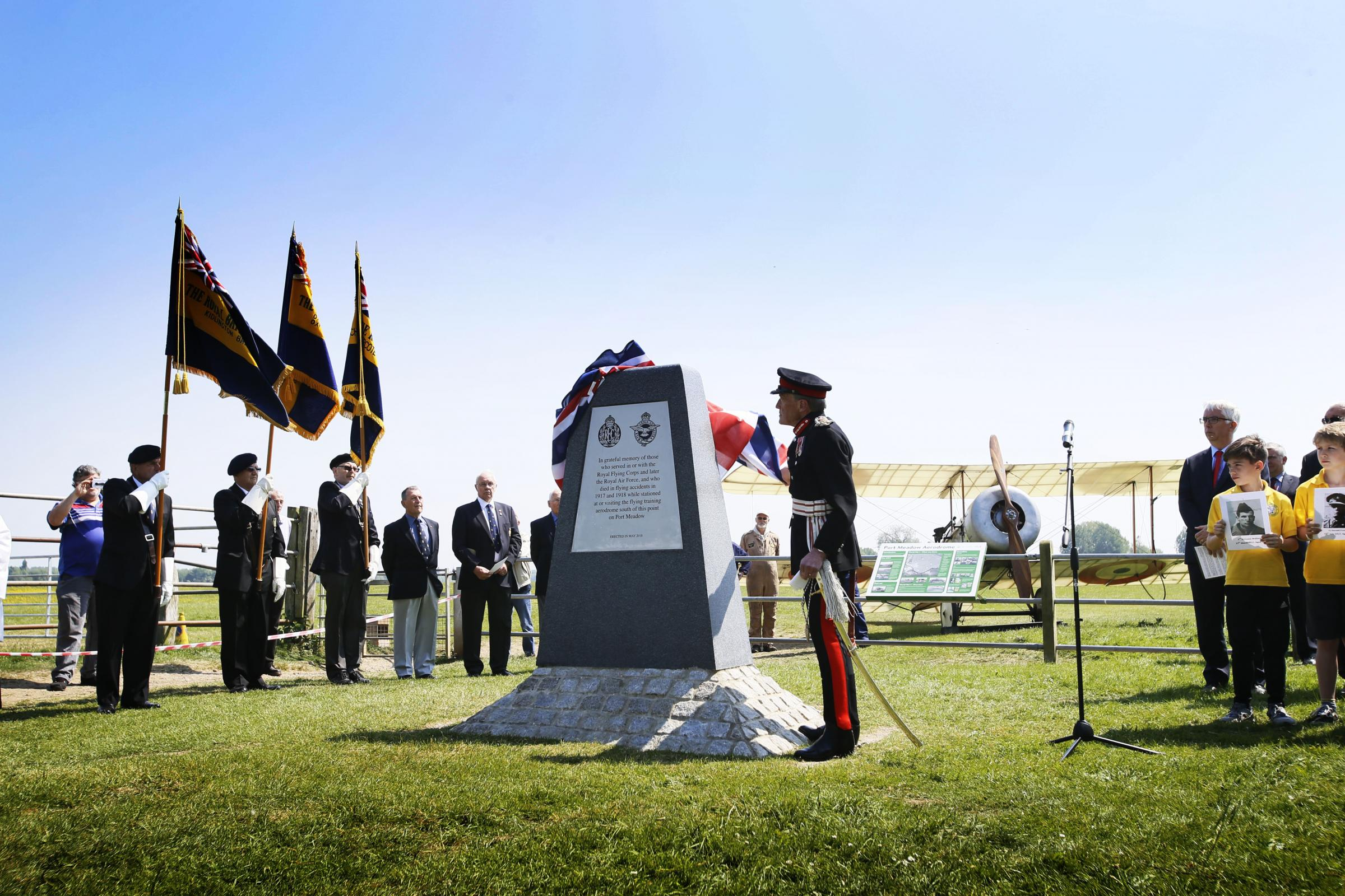Lord-Lieutenant of Oxfordshire Tim Stevenson OBE unveils the Port Meadow Memorial yesterday. Picture: Ed Nix