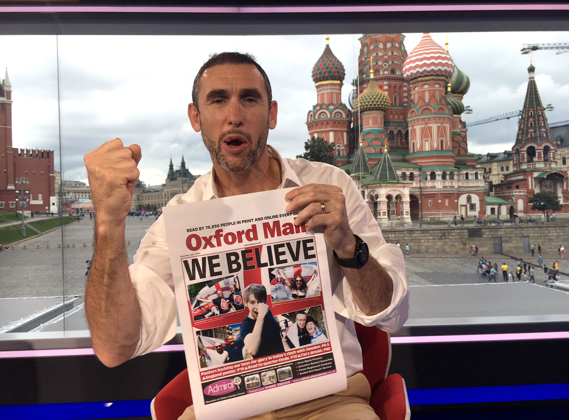 Martin Keown in the BBC studio in Moscow with a copy of the Oxford Mail.