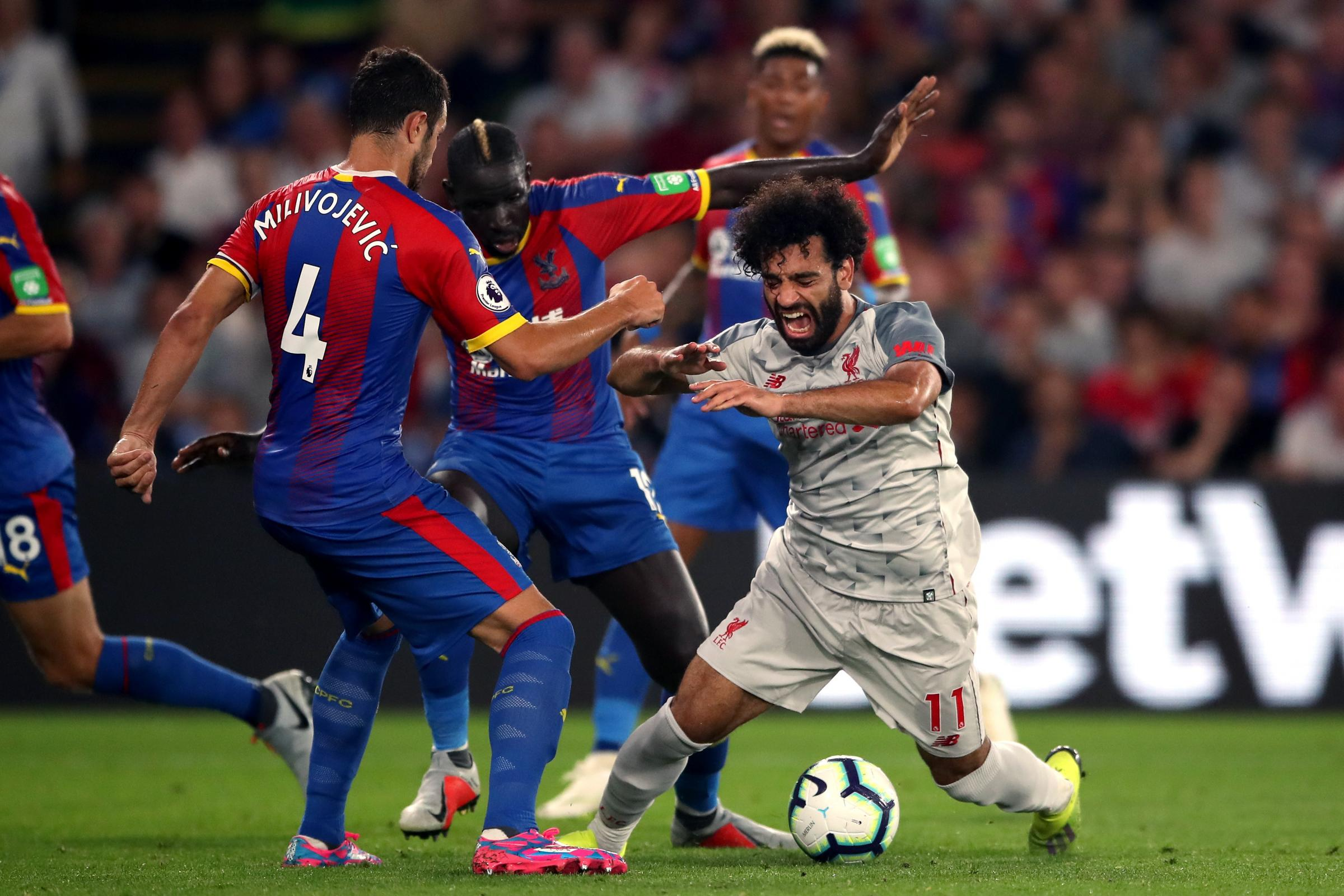 Mohamed Salah went down under pressure from Mamadou Sakho