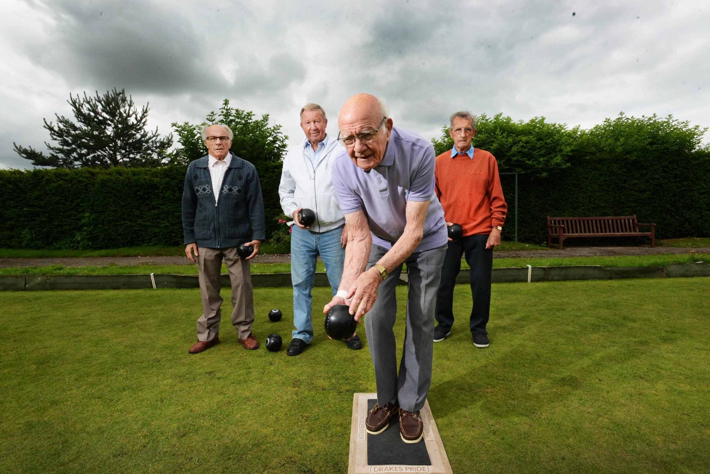 Blackbird Leys Bowls Club on its 50th anniversary. Keith Forster, Gordon Roper, Les Aldridge, and Kenneth Painter. Picture by Richard Cave
