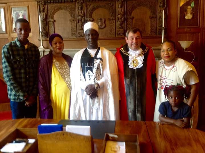 The 17th Emir of Borgu, centre, with Lord Mayor Colin Cook, second from right, and members of Oxford's Nigerian community Pic: Abimbola Jekayinoluwa