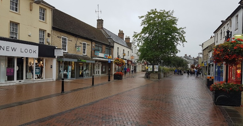 Pioneer Square in Bicester was covered with toilet roll say police Image google maps
