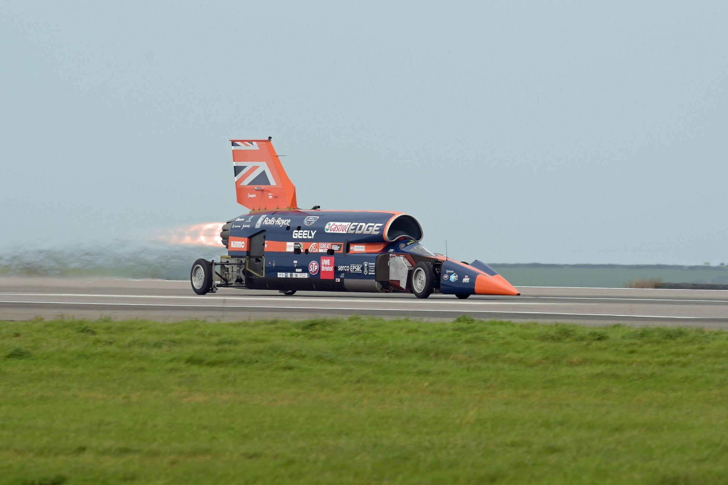 The Bloodhound 1,000mph supersonic racing car during its first public run at Cornwall Airport, near Newquay (Ben Birchall/PA)