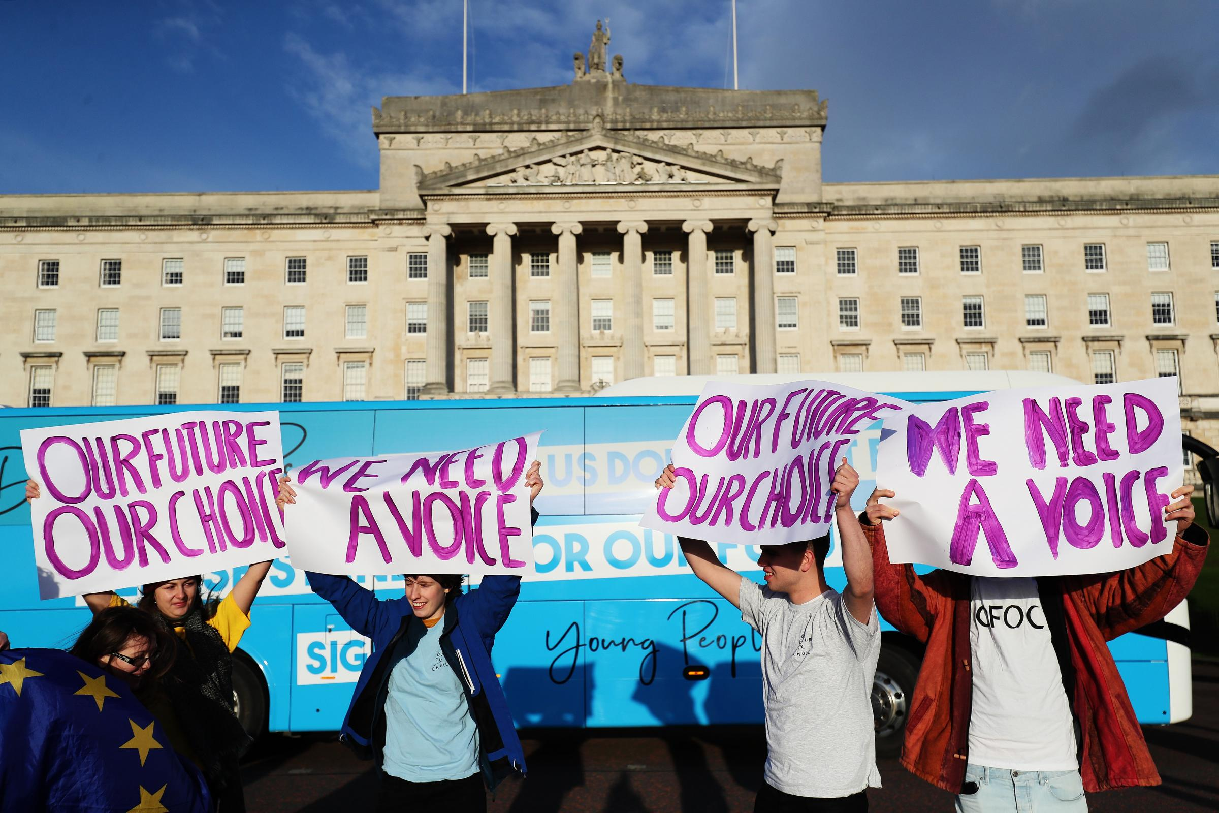 Our Future, Our Choice NI protest at Stormont
