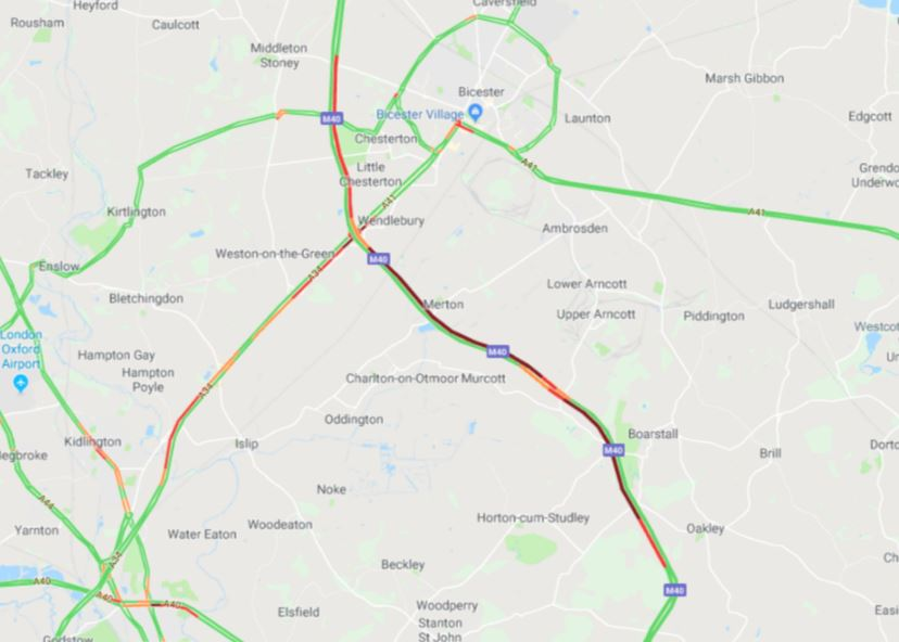 Google Maps image of lorry crash on M40, near J9 for Bicester
