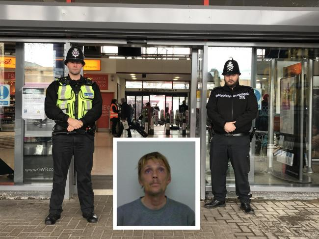Scott Hadlow, inset, who was banned from Oxford train station with a Criminal Behaviour Order after work by PC Matthew Autery of BTP, left, and PC Craig Finch of TVP.